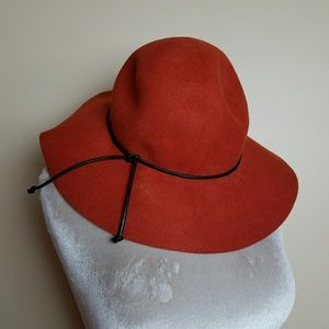 Bohemian Rust Orange Italian Wide Brim Wool Hat